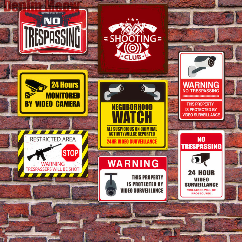 No Trespassing Plaque Vintage Metal Tin Signs Home Bar Pub Decorative Plates Warning Wall Stickers 24 HR Monitored By Video Sign signs