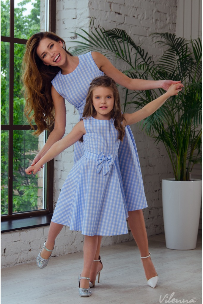 adsfay.com New-Mother-Daughter-Dresses-Bow-Plaid-Family-Matching-Outfits-Blue-O-neck-Fashion-Mom-and.jpg