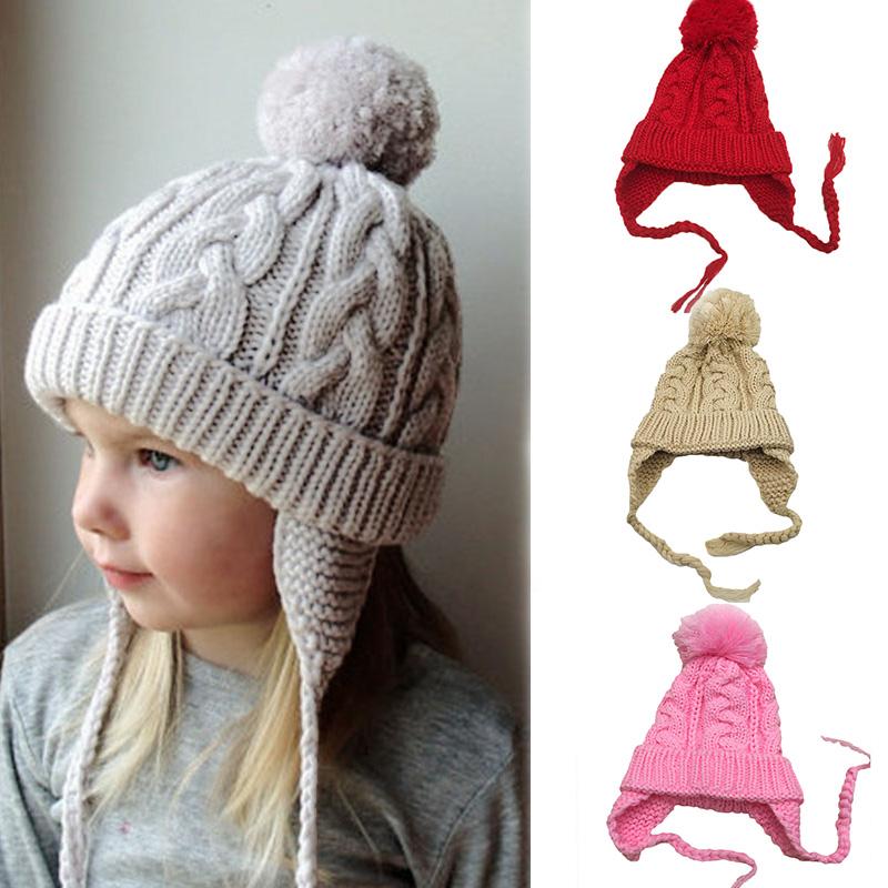 Knitting Baby Cap Winter Warm Kids Hat with Pompom Solid Color Cute Baby Boy Girl Crochet Beanie Baby Muts