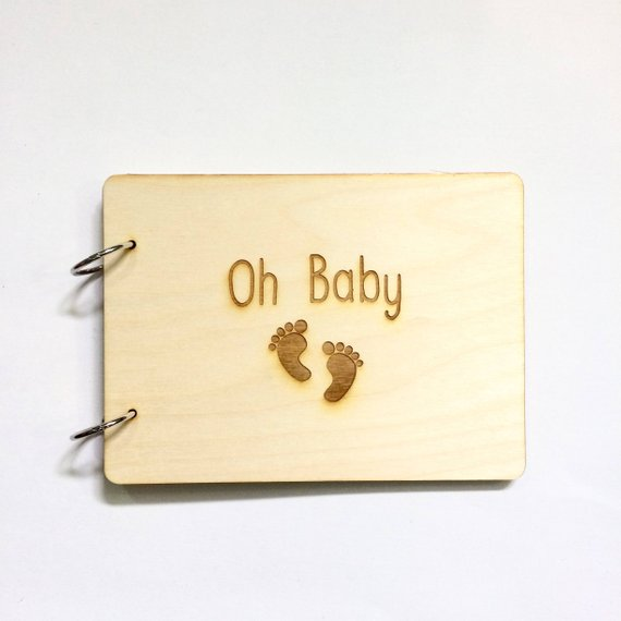 Custom Wood Guest Book Baby Shower Photo Album Birthday Party Gift Personalised Oh Baby Wooden Kraft Guest Book