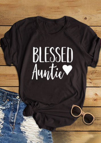 Summer Short Sleeve Stylish Cotton Tee Blessed Auntie Heart Printed T-Shirt Girl Cute Slogan Aesthetic Tops Graphic Popular Tops