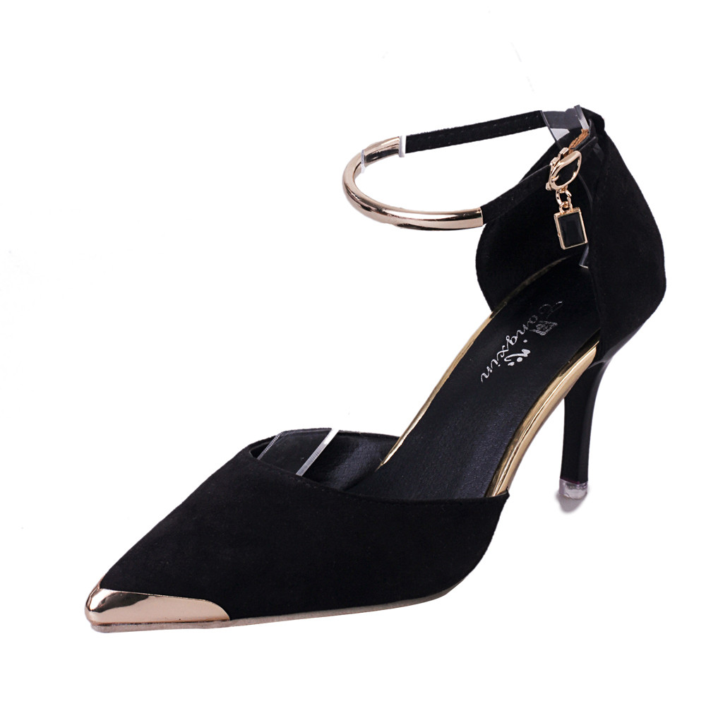#50 Newly Mature Office lady Style Fashion Women Pointed Toe Shallow Solid Buckle Strap High Heels Sexy Style Shoes Wedding Shoe fashion style
