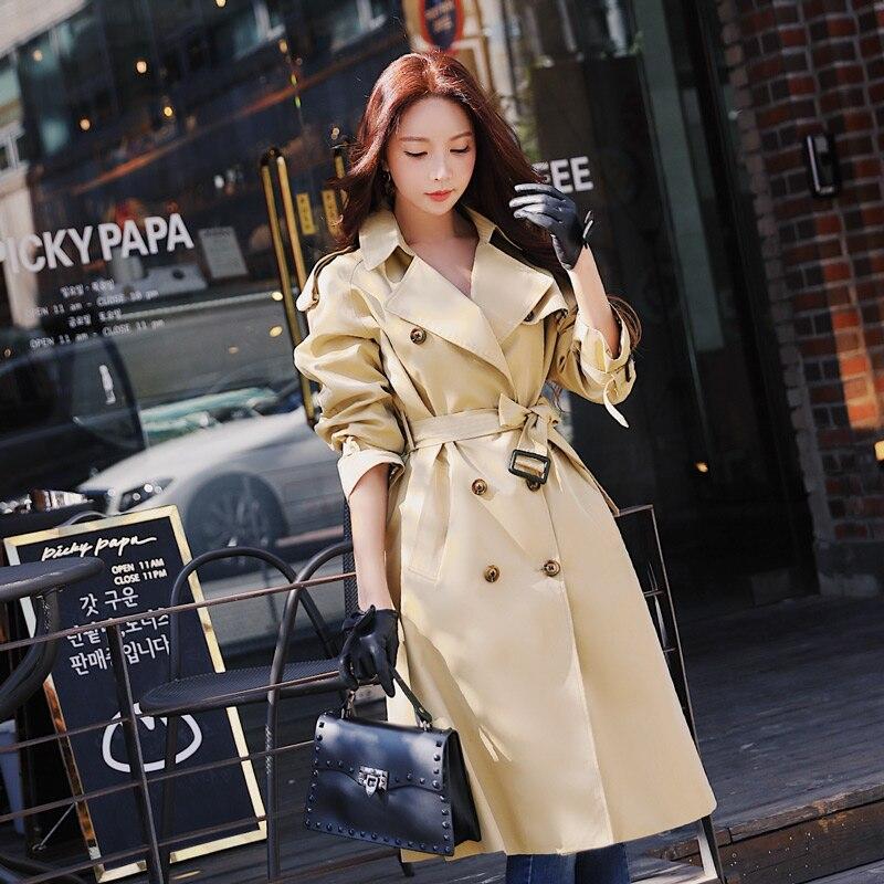 Dabuwawa printemps femmes kaki Chic manteau Trench 2019 nouveau Highstreet vêtements de travail Double boutonnage ceinturé long manteau d'extérieur D18CTC025 - 3