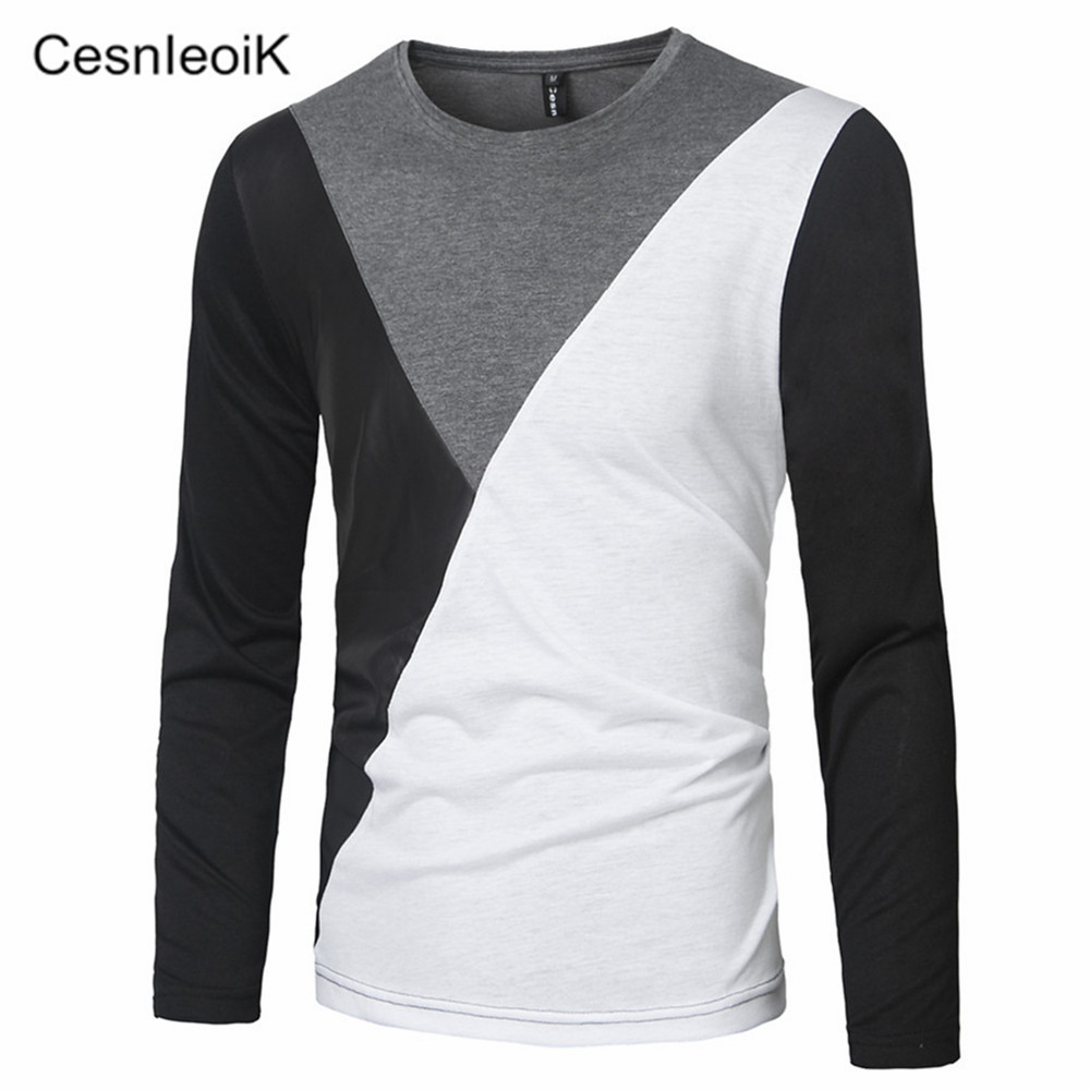 2016 m xxl pu leather t shirt men high quality splice long for Good quality long sleeve t shirts