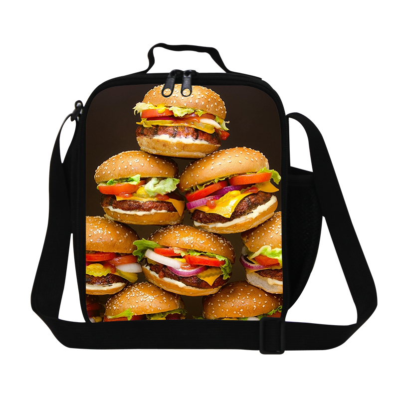 Personzlized Hambugers 3D print mens lunch bag for work,cool insulated lunch box cooler for kids,students food bag for school