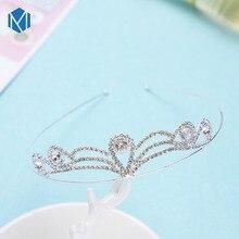 M MISM блестящая корона принцессы Детская повязка для волос красивый горный хрусталь Тиара Девушки аксессуары для волос полые Корона металлический ободок для волос для детей