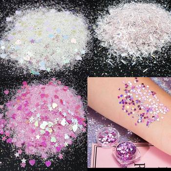 50 10 gramów brokat holograficzny gwiazda Glitter duże włosy oko twarz ciała brokat makijaż | luźne opalizujący kosmetyczne gwiazda 3mm brokat tanie i dobre opinie Paznokci brokat hjjh777 plastic glitter 1 bag==50g MingLee nail glitter moon star heart powder 7 colors for your choice