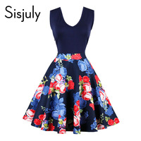 Sisjuly Vintage Dress Floral Pleated Sleeveless Knee Length Summer Elegant Dress V Neck New Design Work