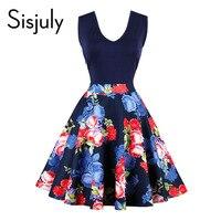 Sisjuly vintage dress floral pleated sleeveless knee length summer elegant dress v neck new design work office dress hot sale