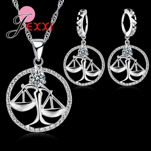 Ingenious Libra Pendant 925 Sterling Silver Pendant Necklace&Earrings Jewelry Sets Accessories For Girlfriend Gife