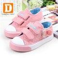 Moda arco polka dot girls shoes nuevo 2017 niños princesa shoes deportes de lona niños shoes otoño zapatilla de deporte de goma para niñas