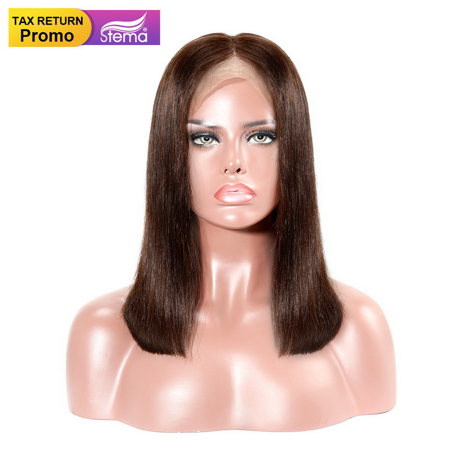 Funky Girl 4x4 Bob Short Lace Front Human Hair Wigs 150% Peruvian Straight Non-remy Hair For Black Women Wig With Baby Hair In Many Styles Lace Wigs