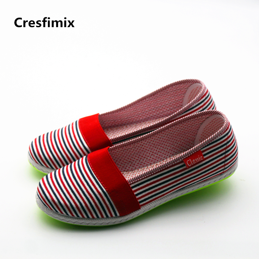Cresfimix zapatos de mujer women casual striped cloth flat shoes female cute soft & comfortable loafers female slip on flats cresfimix zapatos de mujer women casual spring