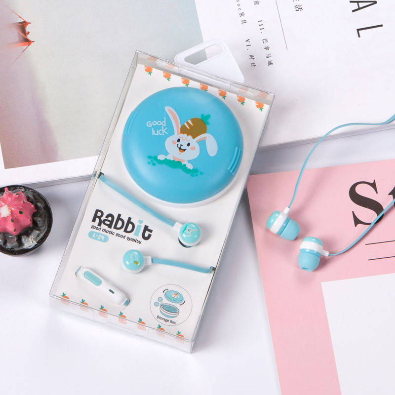 Cute Cartoon Rabbit Wired Earphone With Mic Earbuds Earphones with Case For Xiaomi Samsung