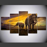 HDพิมพ์แอฟริกันช้างภาพวาดภาพผ้าใบศิลปะกรอบ5แผงซัน