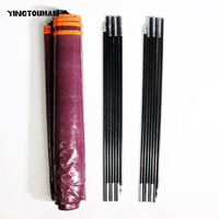 YINGTOUMAN High Strength Foldable Tent Pole Outdoor Travel Camping 7 Sections Fiberglass Tent Pole Kit Accessory With A Mat