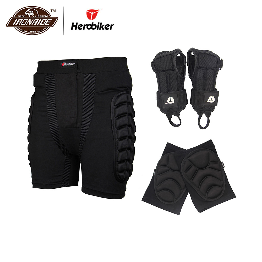 Herobiker Sports Skiing Shorts + Hand Wrist Protector + Knee Protector Suits Protective Hip Bottom Padded for Ski Snow Skate