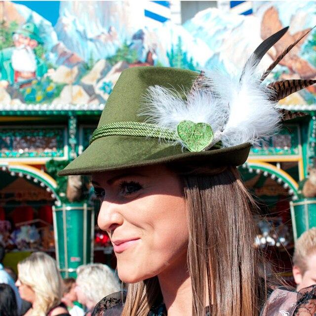 Beer Festival alemão chapéu de Feltro, Chapéu Dos Homens Das Mulheres de Penas Chapéu De Lã Com Preto, Vermelho, embalagem Com Caixa de Cor verde