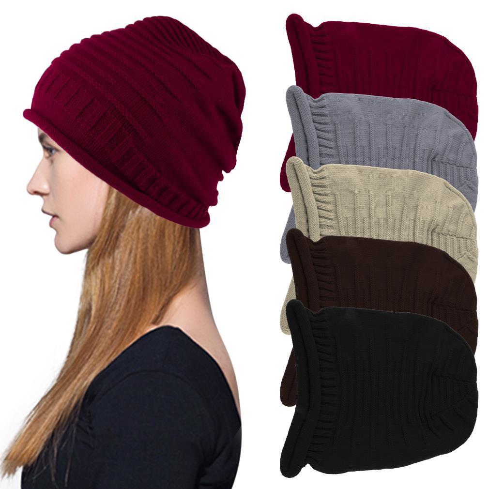 New Men Women Slouch Beanie Head Wrapped Hat Winter Cap Warm Solid knitted Hot hot winter beanie knit crochet ski hat plicate baggy oversized slouch unisex cap