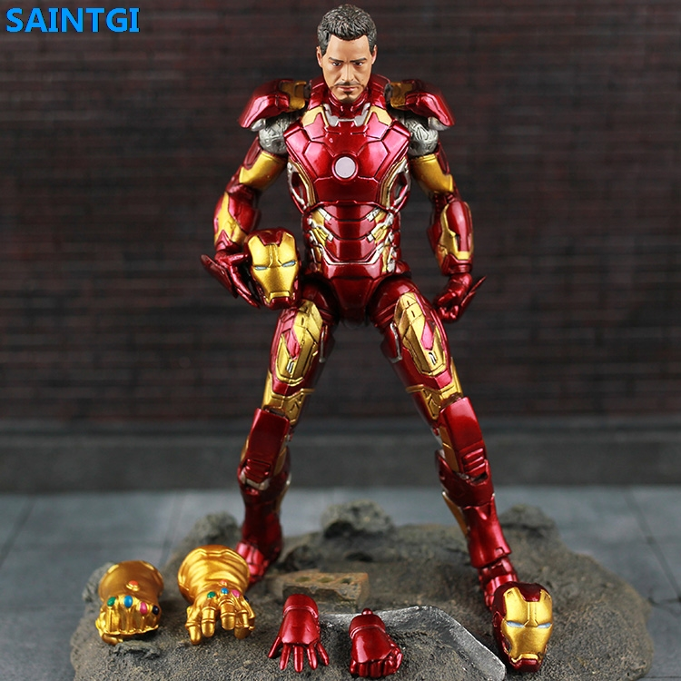 SAINTGI Marvel Avengers Assemble Iron Man Doll Mark 43 Infinity Gauntlet Super Heroes 19CM PVC Action Figure Collection Model