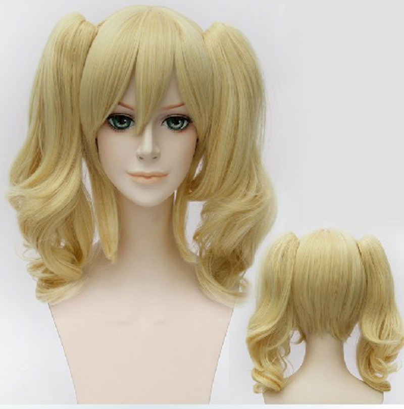 45cm Short Curly Blonde Batman Harley Quinn Synthetic Anime Cosplay Wig+2Ponytails