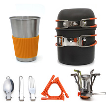 Outdoor camping soldier set pot hiking travel tableware gas stove