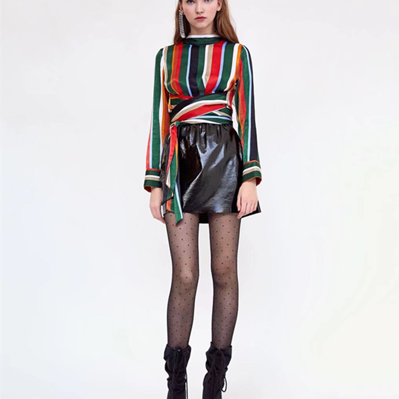 f68bcb5ef3d850 new spring contrast color striped long sleeve o neck zipper decor blouse  high waist band female casual work slim shirt tops