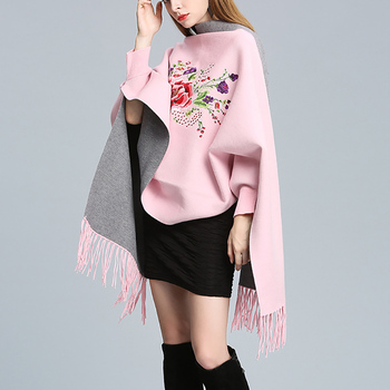 TWOTWINSTYLE Knitted tassel Tassel Cloak Sweater women autumn winter multiple Colour Cardigan Lantern Sleeve famale jumpers tops