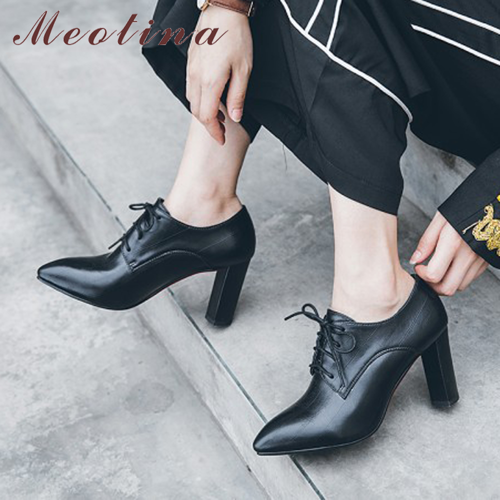 Meotina Thick High Heels Shoes Women Lace Up Super High Heels Derby Shoes Fashion Pointed Toe Pumps Female Footwear Size 33-41Meotina Thick High Heels Shoes Women Lace Up Super High Heels Derby Shoes Fashion Pointed Toe Pumps Female Footwear Size 33-41