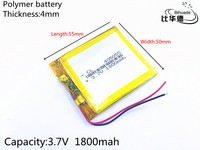 10pcs 3.7V 1800mAh 405055 Lithium Polymer Li Po li ion Rechargeable Battery cells For Mp3 MP4 MP5 GPS PSP mobile bluetooth