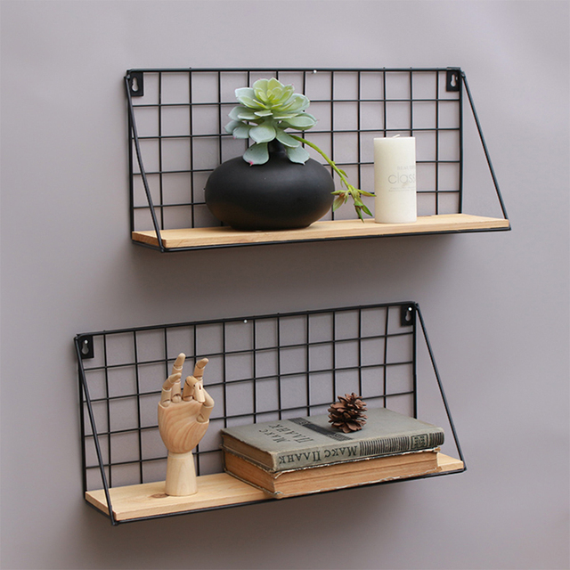 Baoblaze Metal U0026 Wooden Wall Grid Hanging Shelf Kitchen Bathroom Decor Home  Furnishing Storage Display Stand