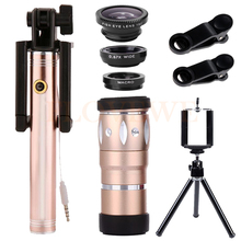 On sale Wide Angle Macro Fisheye Lentes HD10X Telephoto Zoom Lens Telescope Microscope Lenses Tripod For Smartphone Monopod Holder