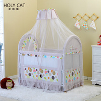 Manufacturer new Baby Crib with Mosquito net, Inner Cradle Thick Mattress made of coconut Fibre Baby Crib Bed HOLY CC