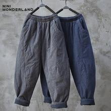 NINI WONDERLAND Winter Thicken Cotton Warm Pants Women Jacquard Cotton-padded Tr