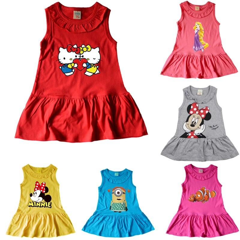 Baby Girls Dresses Summer Cute Cartoon Tangled Rapunzel hello kitty Print Cotton Sleeveless Infant minner Dress For Girls girls cartoon print dress