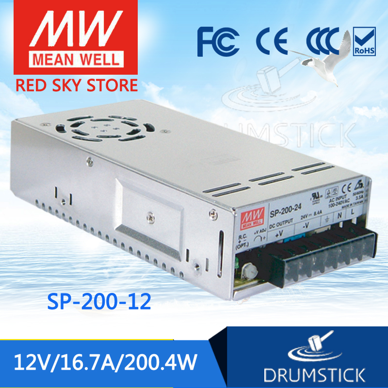 MEAN WELL SP-200-12 12V 16.7A meanwell SP-200 12V 200.4W Single Output with PFC Function Power Supply [Real5] [mean well] original sp 150 27 27v 5 6a meanwell sp 150 27v 151 2w single output with pfc function power supply