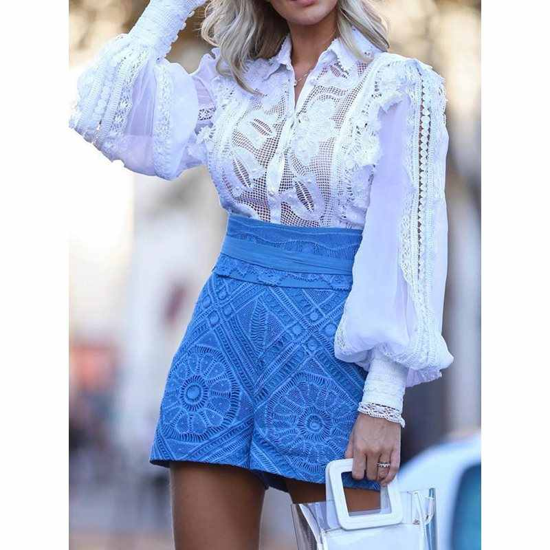 2019 White Summer Elegant Sexy African Women Blouses Plus Size Casual Slim Black Girls Tops Lantern Sleeve Lapel Hollow Shirts