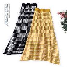Wasteheart Black Red Yellow Women Skirts Fashion High Waist Mid-Calf Long Skirt Clothing Empire Vintage A Line Plaid