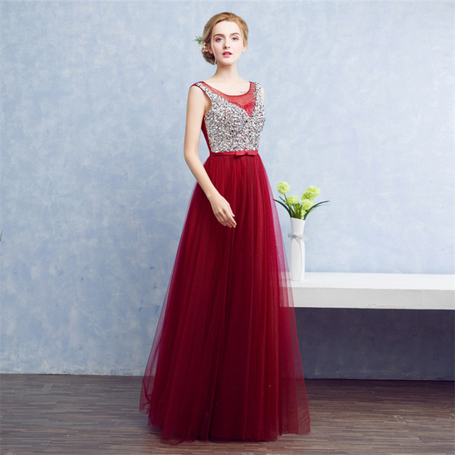 It s Yiiya new 2018 O-neck Sequins Bling A-line Prom Gowns Floor Length  Party Dresses Red Sleeveless Formal Dresses YA007 f01fac1f1e32