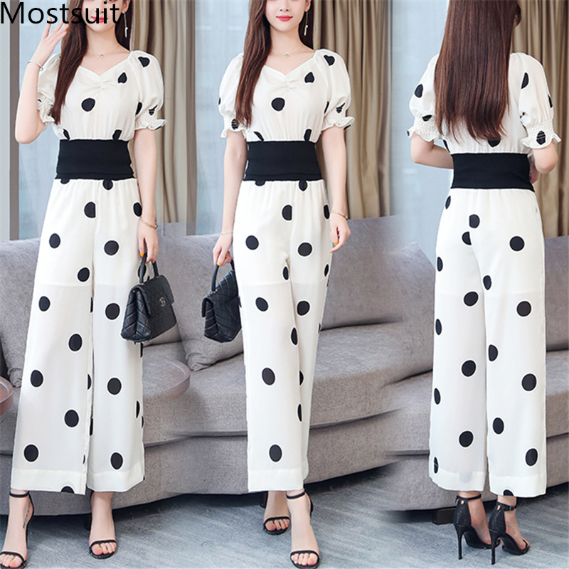 Summer Dot Print Two Piece Sets Outfits Women Plus V-neck Short Tunics Tops And Wide Leg Pants Suits Elegant Ladies 2 Piece Sets 29