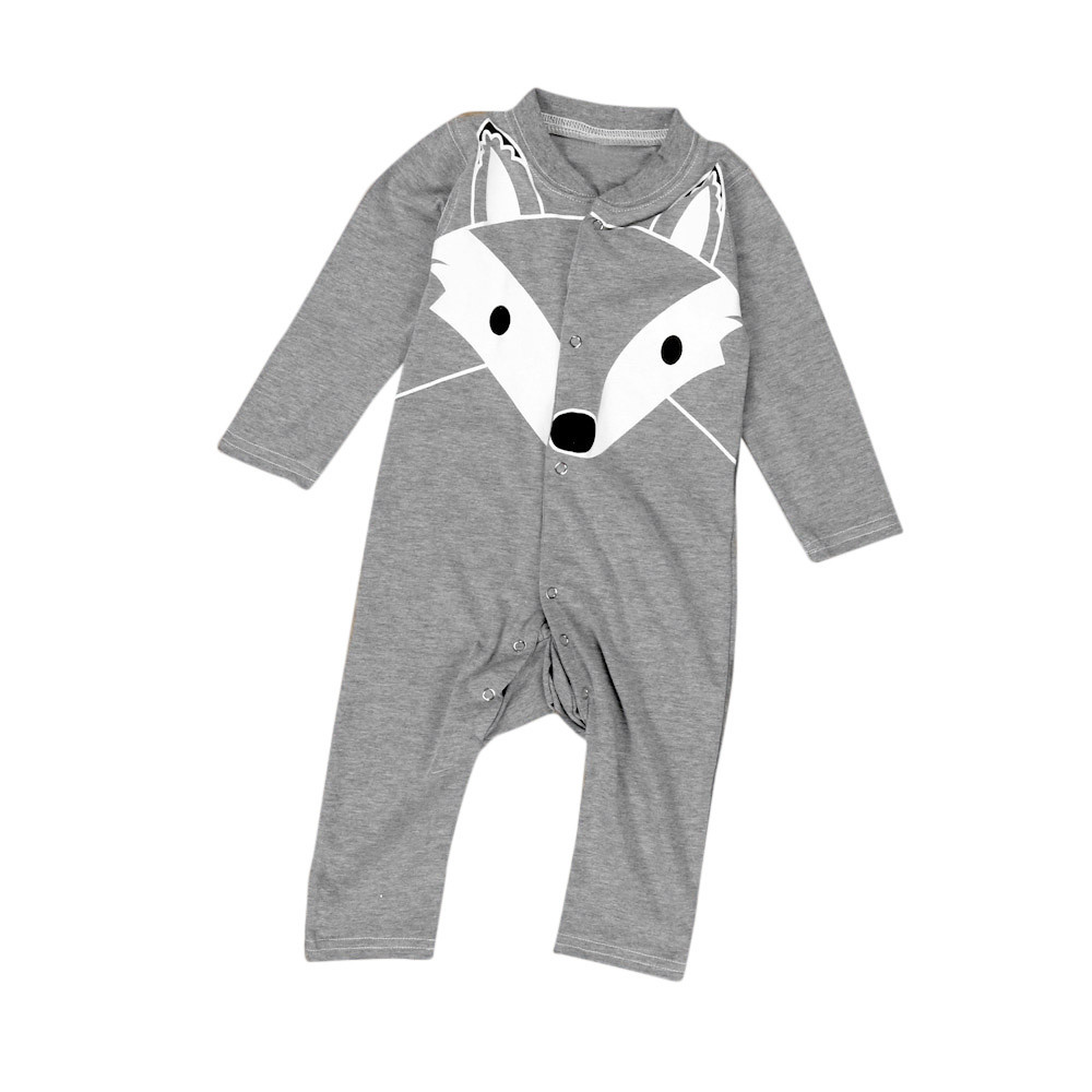 2018 New Newborn Baby Boys Girls Cartoon Print Long Sleeve Romper Outfits Clothes Dropshipping