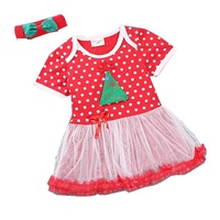 Summer Kids Clothes Sets for Child Girls Christmas Lace Dress + Headbands Baby Suit Cute Toddler Clothing Outfit Children's Wear