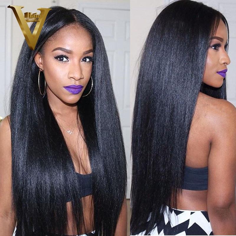 Light Yaki Full Lace Human Hair Wigs For Black Women Yaki Straight Brazilian Wigs Bleached Knots