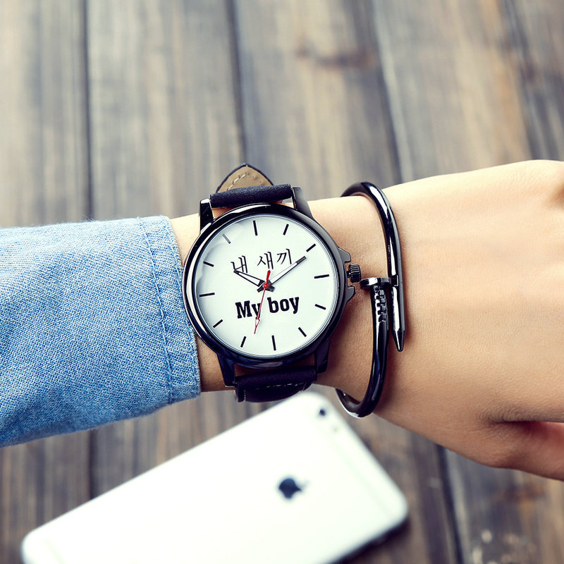 Korean Middle School Couple Watch My Boy My Girl Letters Lovers Watches Harajuku Retro Watch Personality Logo WristWatch