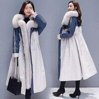 Winter coat women's jacket 2019 new Korean version of the long section of cotton padded plus velvet over the knee coat A word co