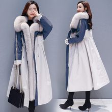 Winter coat women's jacket 2019 new Korean version of the long section of cotton padded plus velvet over the knee coat A word co the counter brand quality original design in the winter 2015 easing the big yards of cotton linen women cotton padded clothes