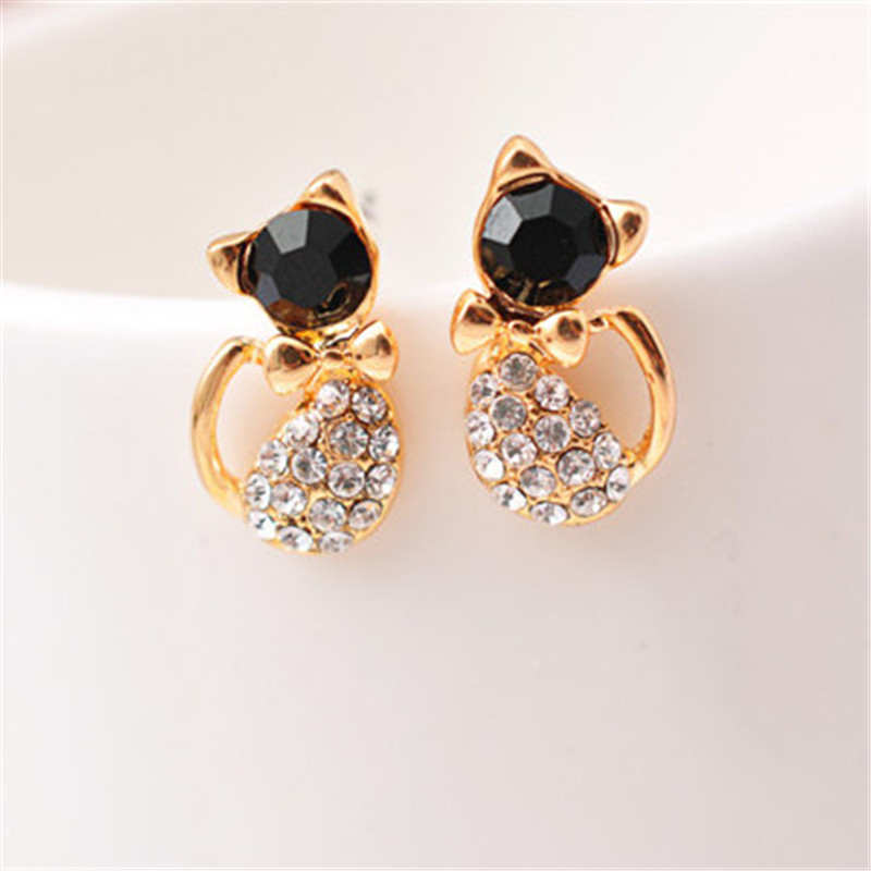 New Fashion Cute Lovely gold Color  Rhinestone Crystal Cat Earrings for Women Kids Crystal Earring Fashion Earrings wholesale 4