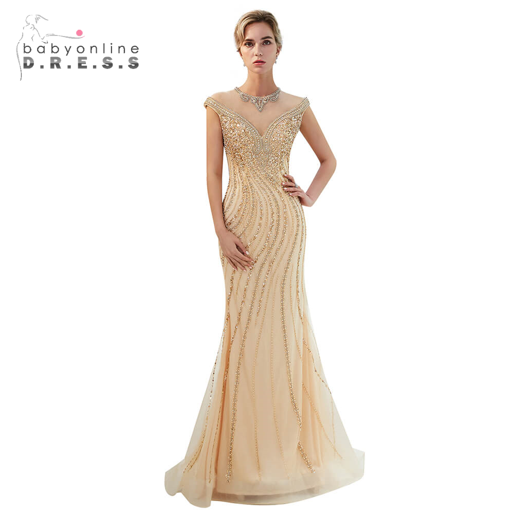 Golden Beading Crystal Long   Prom     Dresses   2019 Sexy Backless Mermaid   Prom   Gown Custom Make Size Party   Dress   Vestido De Festa