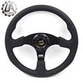 "LA racing-14"" (350mm) Mugen Steering Wheel really Leather black line Steering Wheel Flat Mugen Racing Steering Wheel"