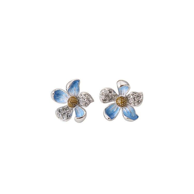 Boucles d'oreilles en argent rose/bleu émail CZ narcisse fleur 925